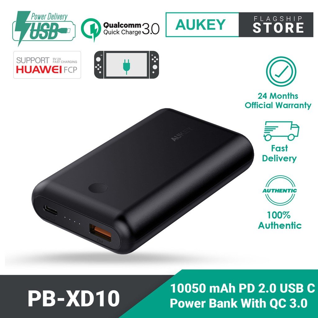 Aukey PB-XD10 Power Delivery 2.0 USB C Power Bank  Quick Charge 3.0 (10050mAh)