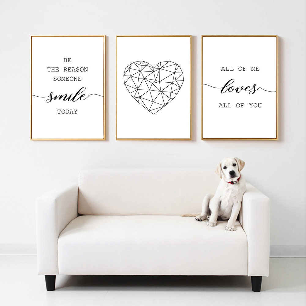 Love Poster Black And White Canvas