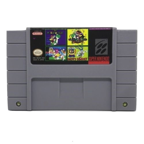 4 in 1 Multicart Super Nintendo SNES Super Mario World Tiny Toon Buster  Busts