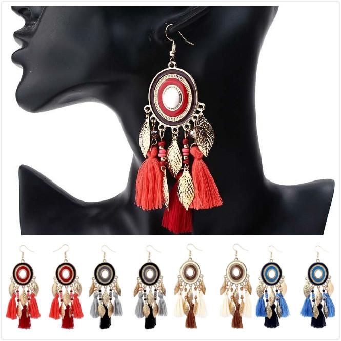 aa16a7aa6 ProductImage. ProductImage. New Women Boho Round Tassel Drop Dangle Long  Leaf Pendants Earrings Jewelry Gift