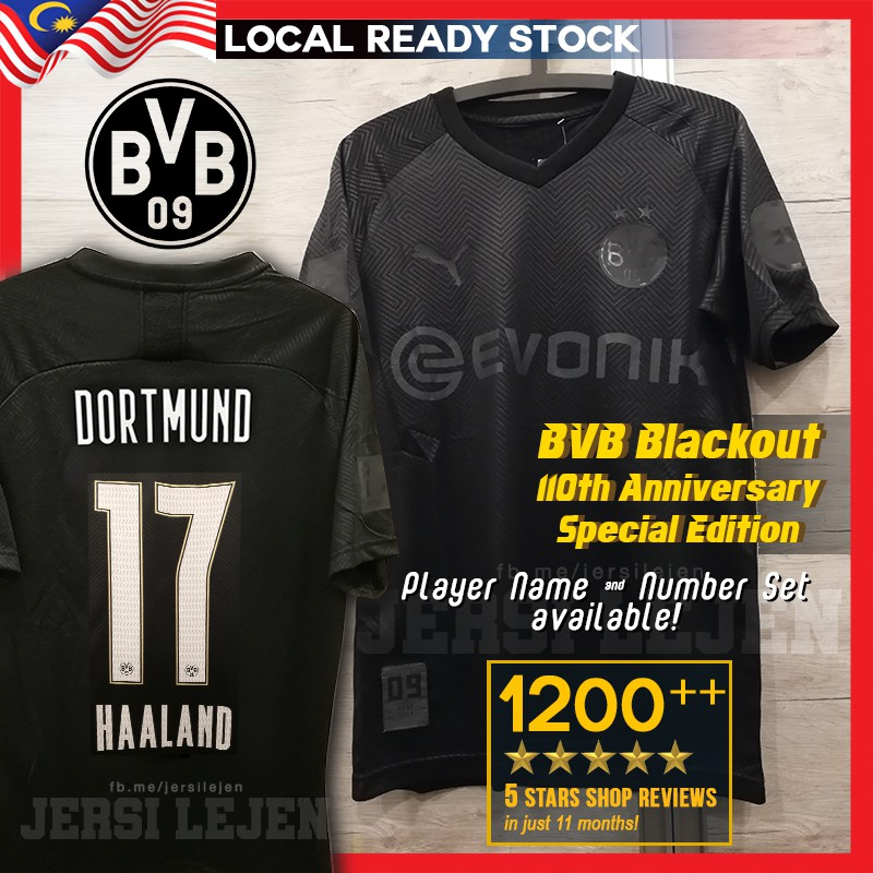 Ready Stock Bvb Dortmund Blackout 110th Anniversary Special Edition Football Jersey Actual Photos Size S 2xl Haaland Shopee Malaysia