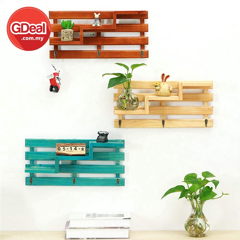 GDeal Top Creative Wooden Wall Rack 3 Story Wall Hanging Shelves Home Decoration Key Holder