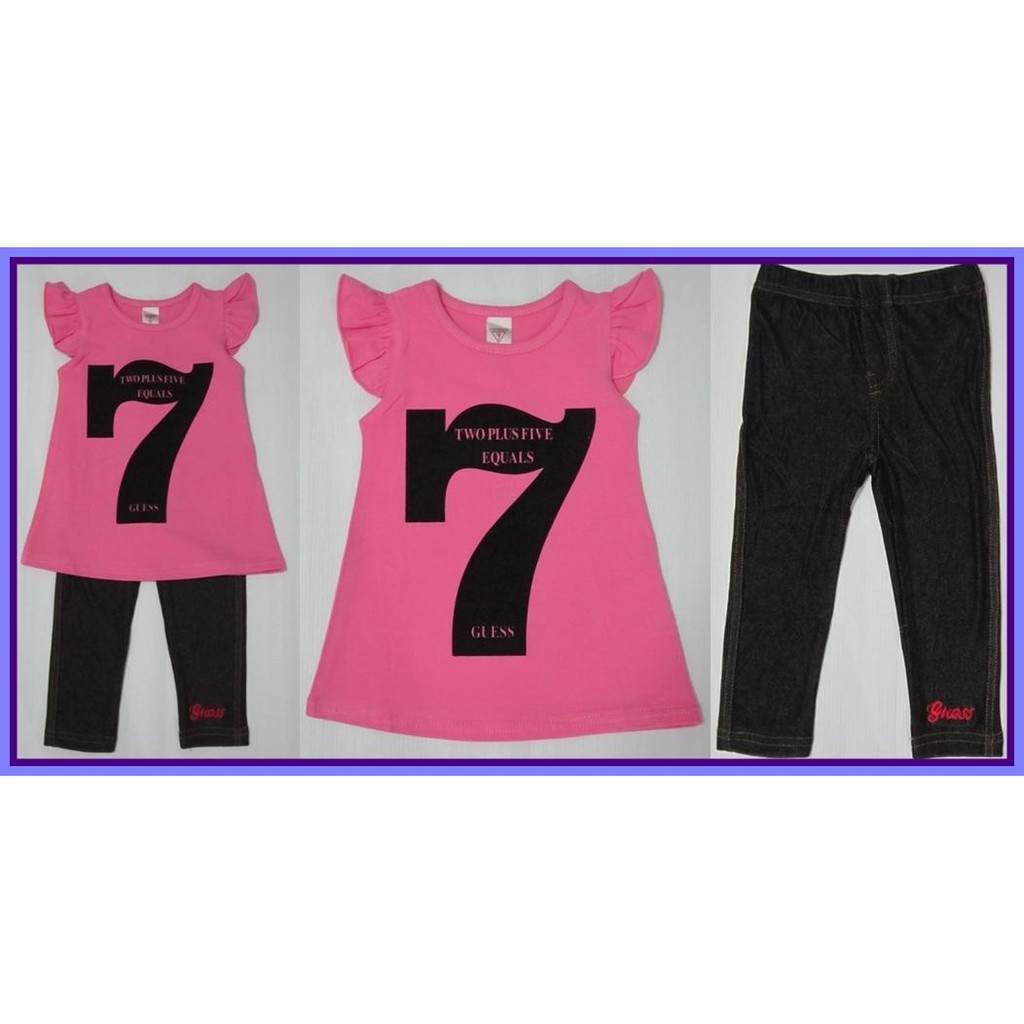 Pink TOP & Black LEGGINGS For Little Girls Age 0 to 6 Yrs Old