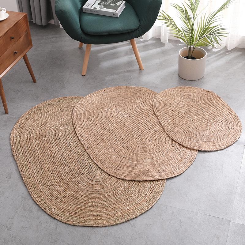 Carpetvietnam Water Reed Handmade, Round Straw Rattan Rug