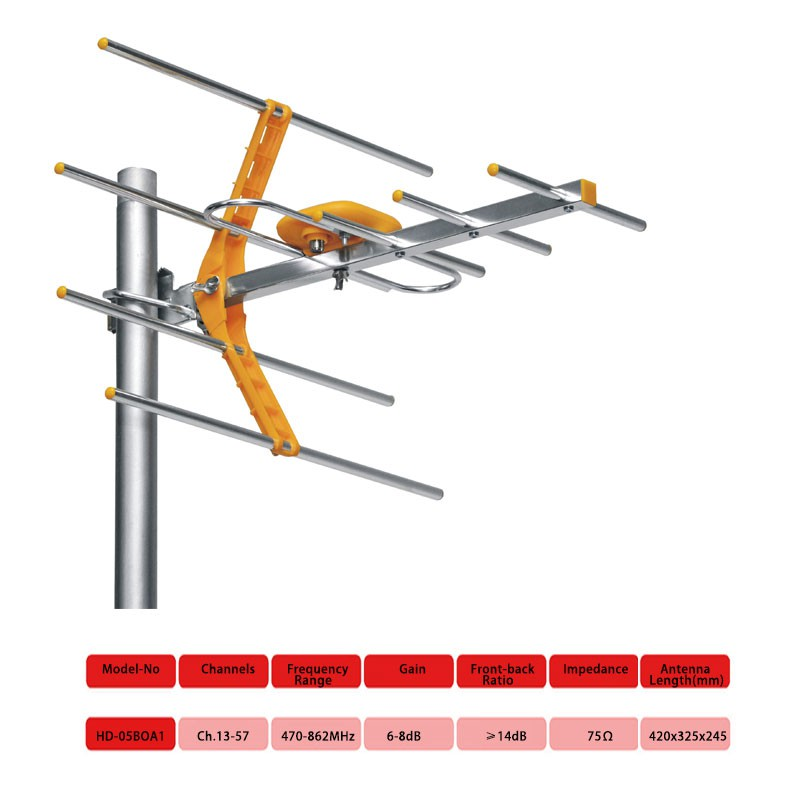 Antenna 8E TV Digital DVB T2 UHF 470-800MHz 6db-8db (with Connector)