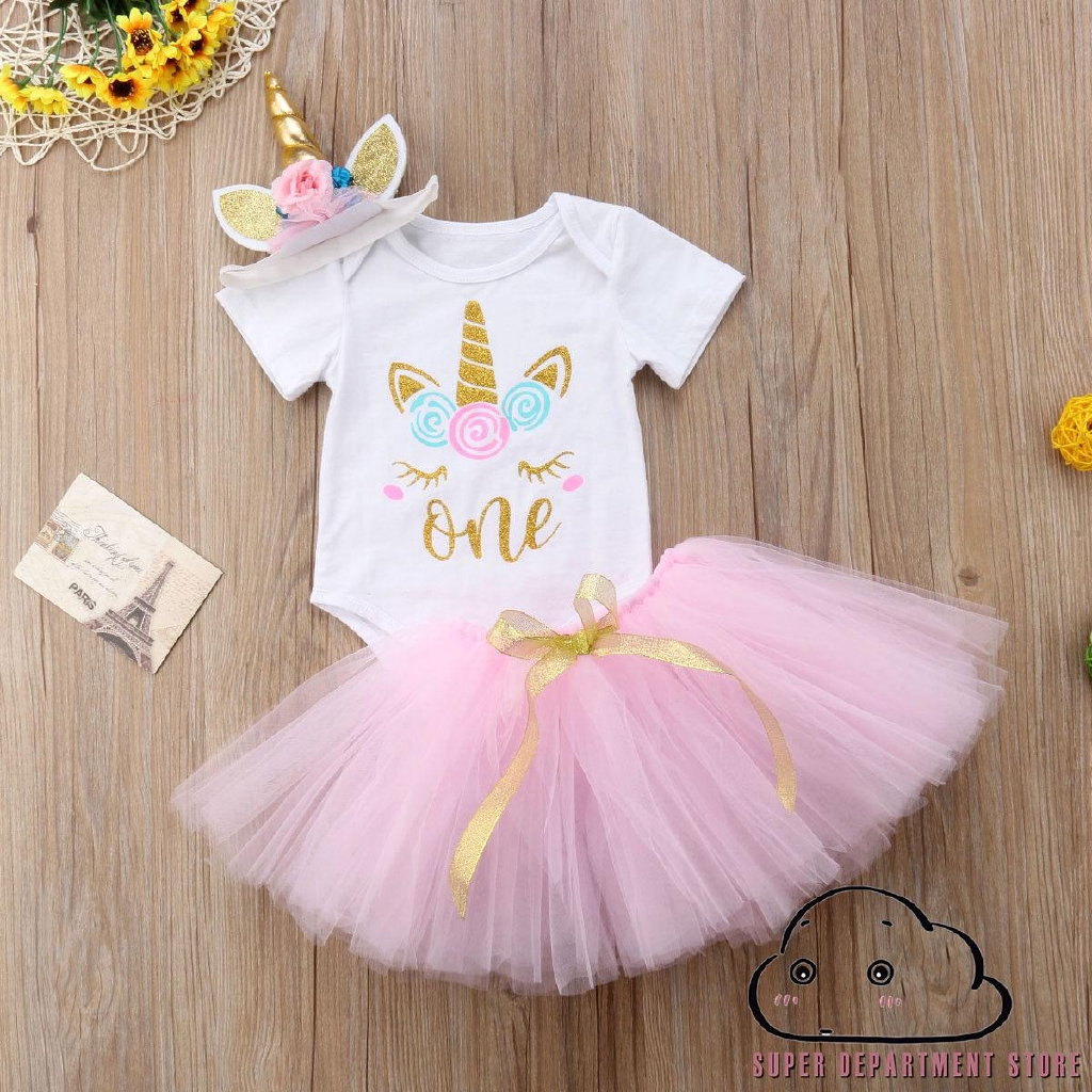 3Pcs Unicorn 1st Birthday Girl Outfit Newborn Baby One Romper Bodysuit Tops+Tutu Skirt Dress+Headbands Clothes Set