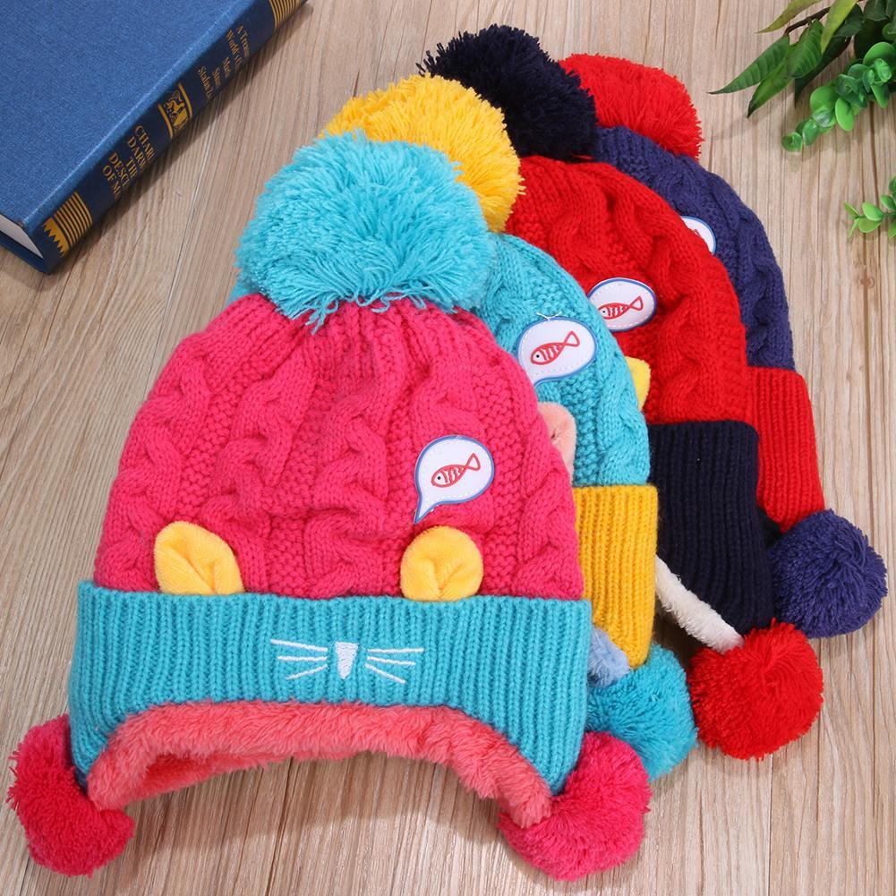 56057d178 [DI] Baby Winter Hat Warm Infant Cap Boys Girls Animal Cat Ear Kids Crochet  Cap