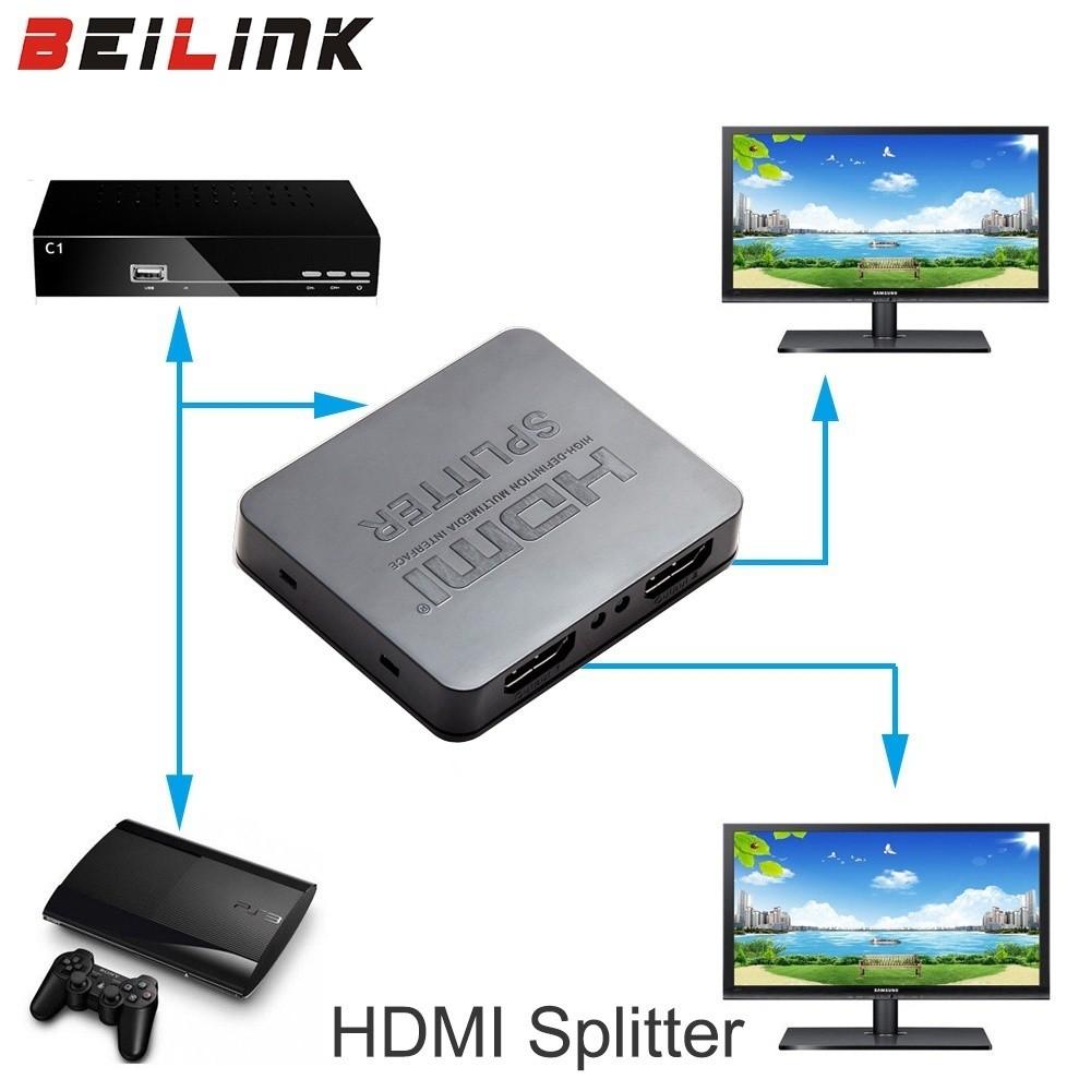 4K HDMI Splitter 1080p Video HDMI Switcher 1X2 Split Out Amplifier Dual  Display