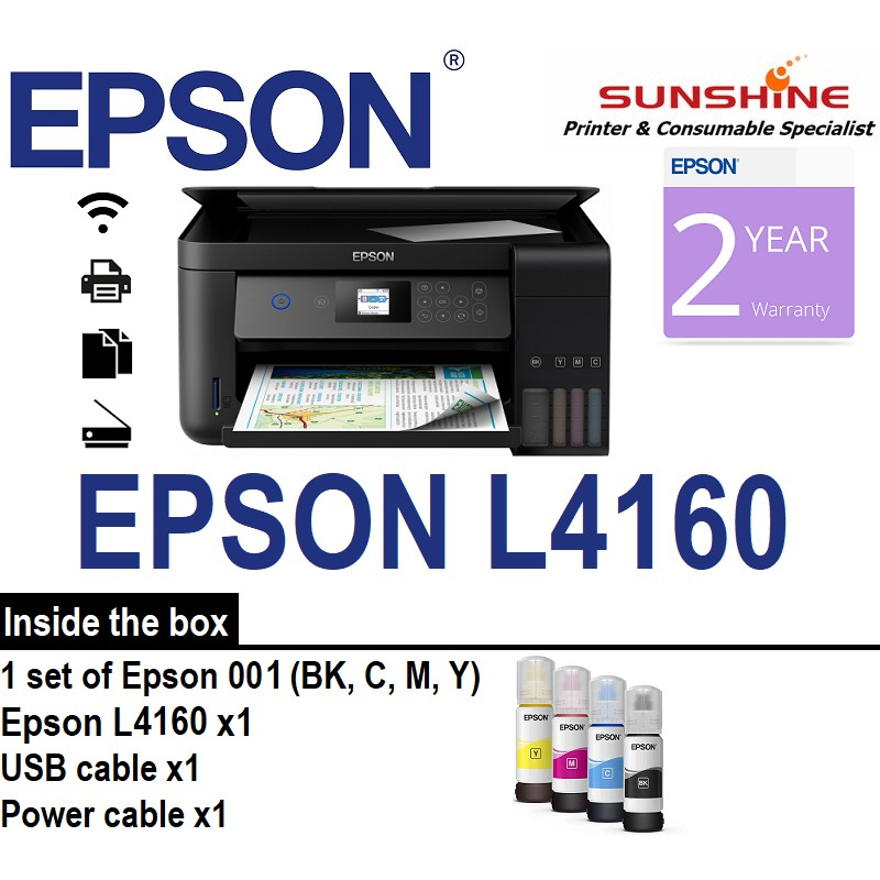 Epson L4160 Wi-Fi Duplex All-In-One Ink Tank Printer Comes With Original  Inkset