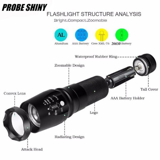 Super Bright G700 LED Flashlight X800 Military Lumitact Torch+Battery+AC Charger