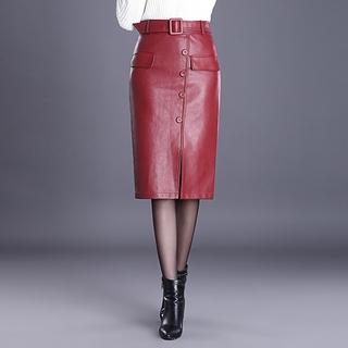 run shoes hot-selling discount quite nice Women PU Leather Skirts Elegant Slim Bodycon Skirt Ladies ...