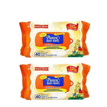 Pureen Baby Wipes Extra Large Fragrance Free 2x40\'s