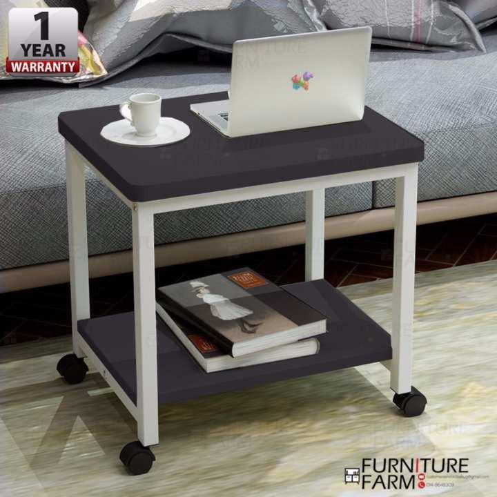 F F 50x40x48cm Dwi Layered Storage Coffee Table White Steel