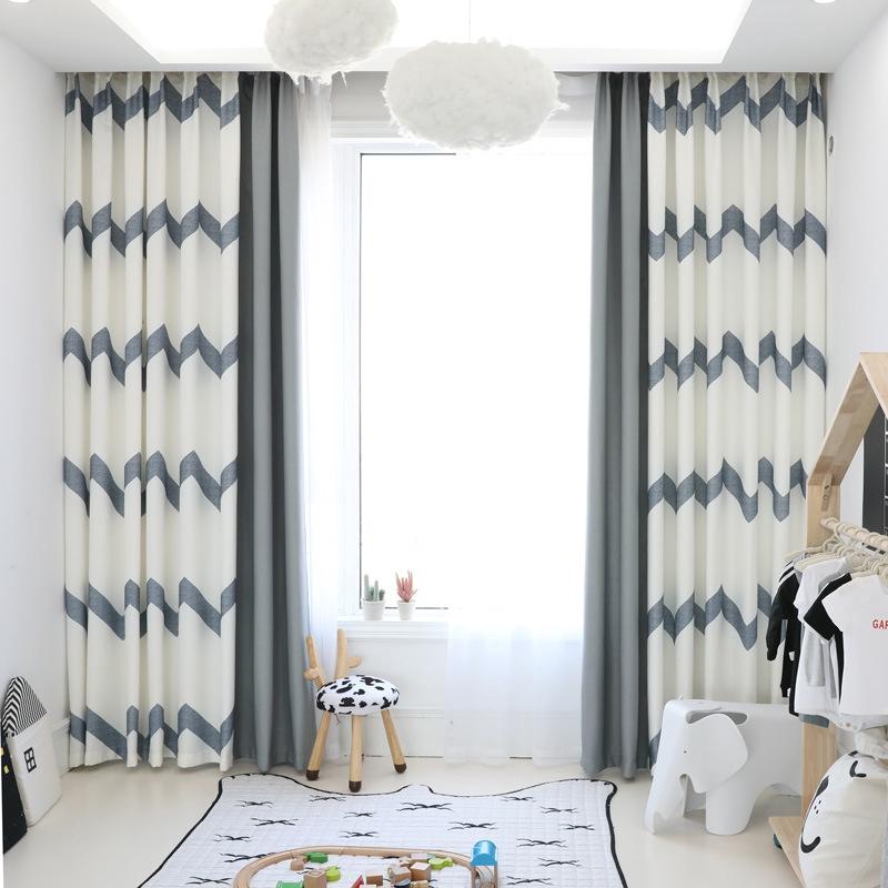 Modern Nordic Striped Mosaic Curtain Bedroom Velvet Linen Blackout Curtain Shopee Malaysia
