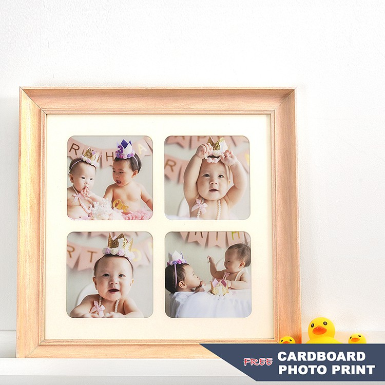 Korean Style Simple Four-Square Grid Expression Four-Hole Wooden Photo Frame Creative