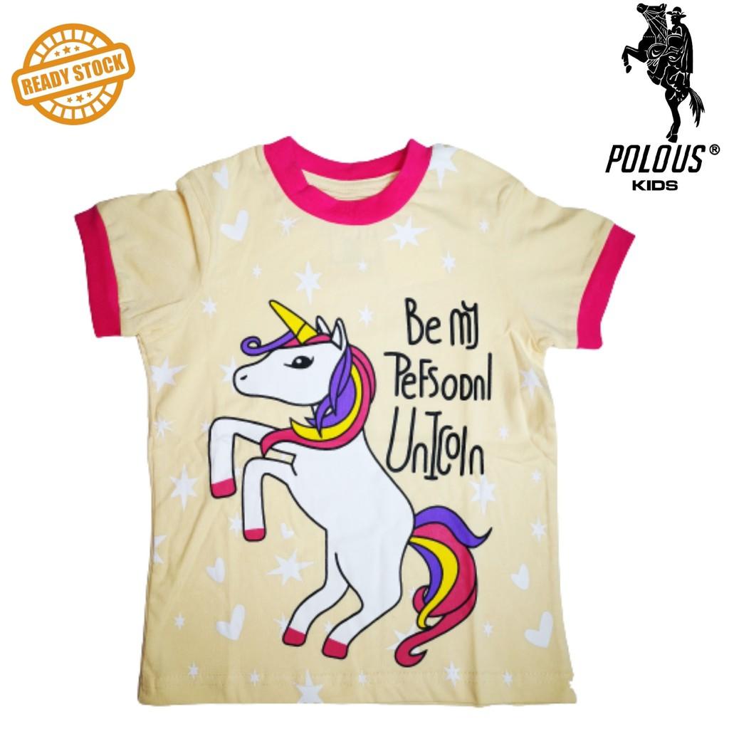 POLOUS Girl Cotton Short Sleeve Round Neck Shirt 9013- UNICORN