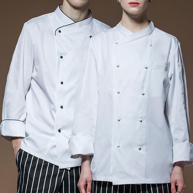 35584efd Long Sleeve Poly Cotton Chef Jacket Hotel Restaurant Waiter Waitress Uniform  | Shopee Malaysia