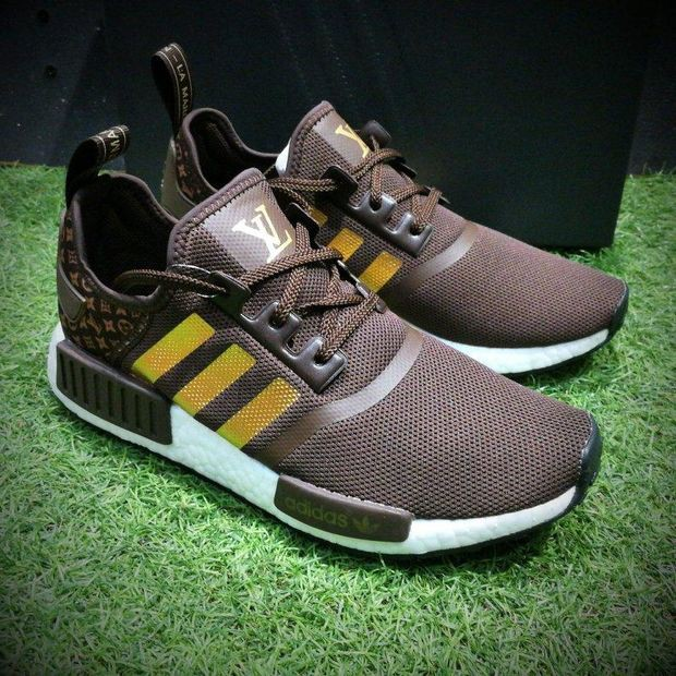 7b28daa2ba9a LV x Adidas Customise NMD R1 Boost Men R 1 Brown Gold Sport Running Shoes