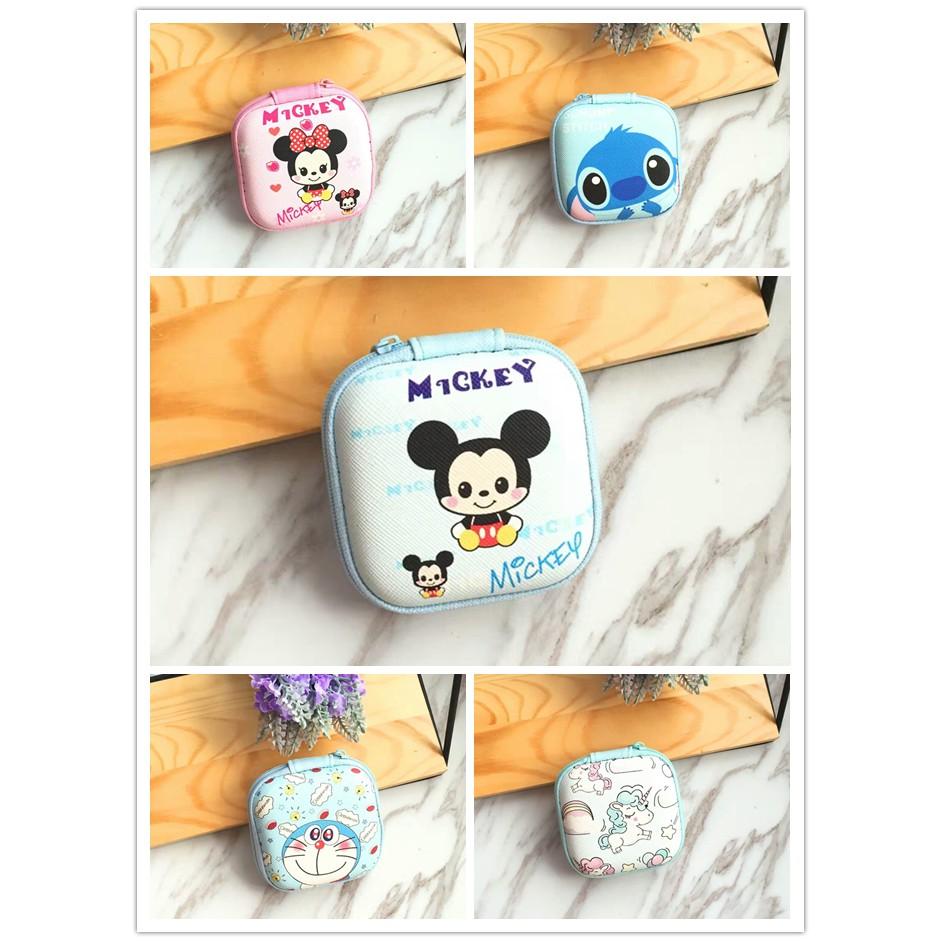 Mickey Minnie Unicorn Cute Earphone Keychain Charger Mini Storage Coin Bag