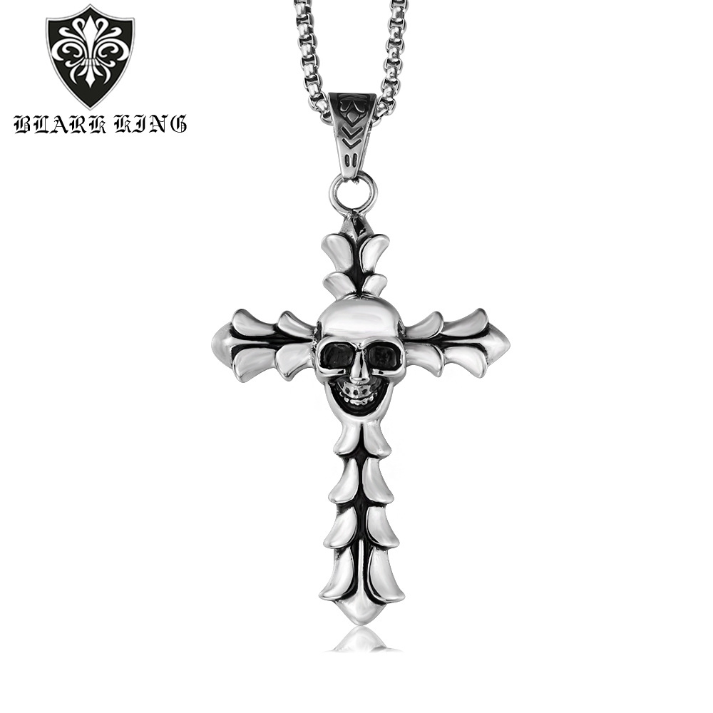 JAJAFOOK Mens Womens Cross Religious Pendant Punk Personality Stainless Steel Necklace