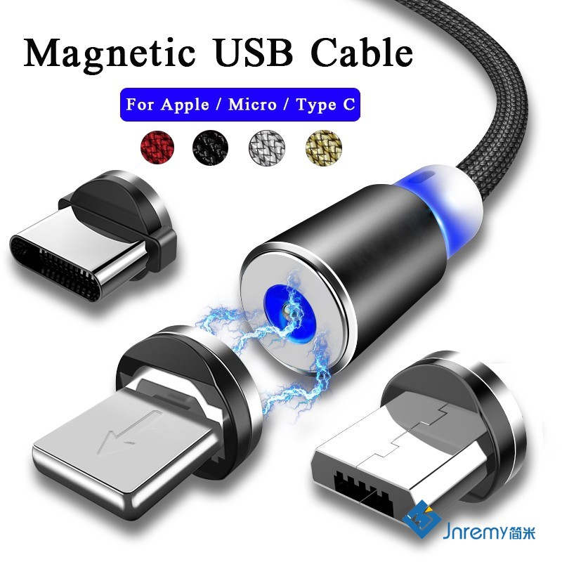 1m 2 4A Magnetic Type C/IOS/Micro 360Round Fast Charger USB Cable With LED  Light