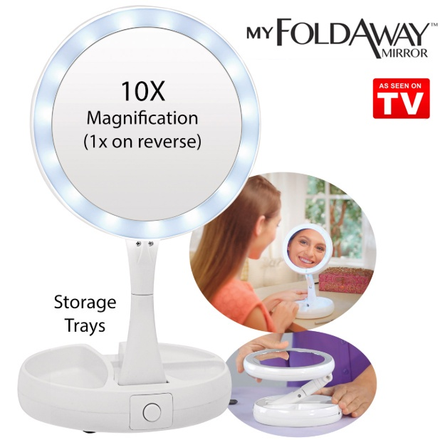 【10 x Magnification】LED Double Sided Vanity Mirror My Foldaway Mirror