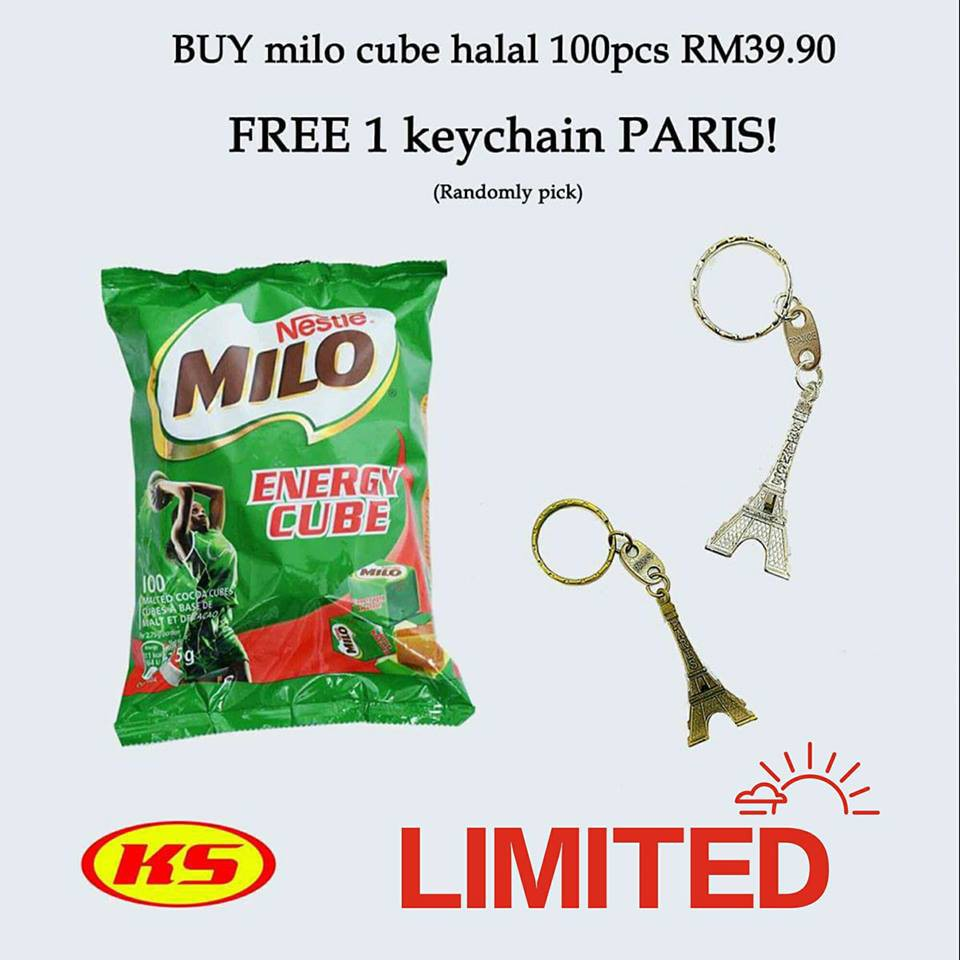 Promotion Buy Milo Cube Halal 100pcs Free 1 Keychain Paris Original Energy 2 Pack Shopee Malaysia