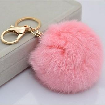 Cute Genuine Leather Rabbit Fur Ball Plush Key Chain For Car Key