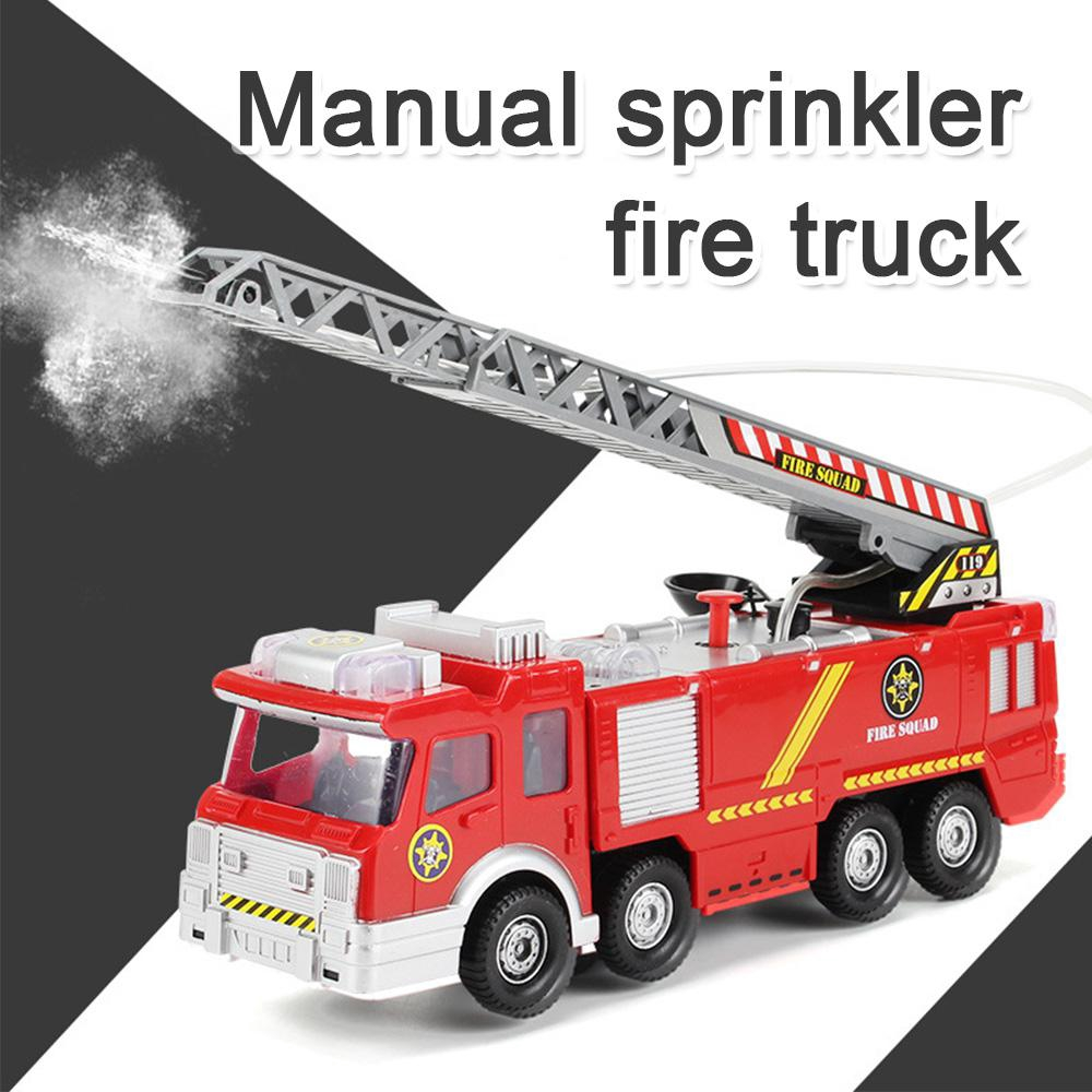 Fire Truck Toy Kids Electric Car Toy with lights Music Water Pump Hose to  Shoot Water