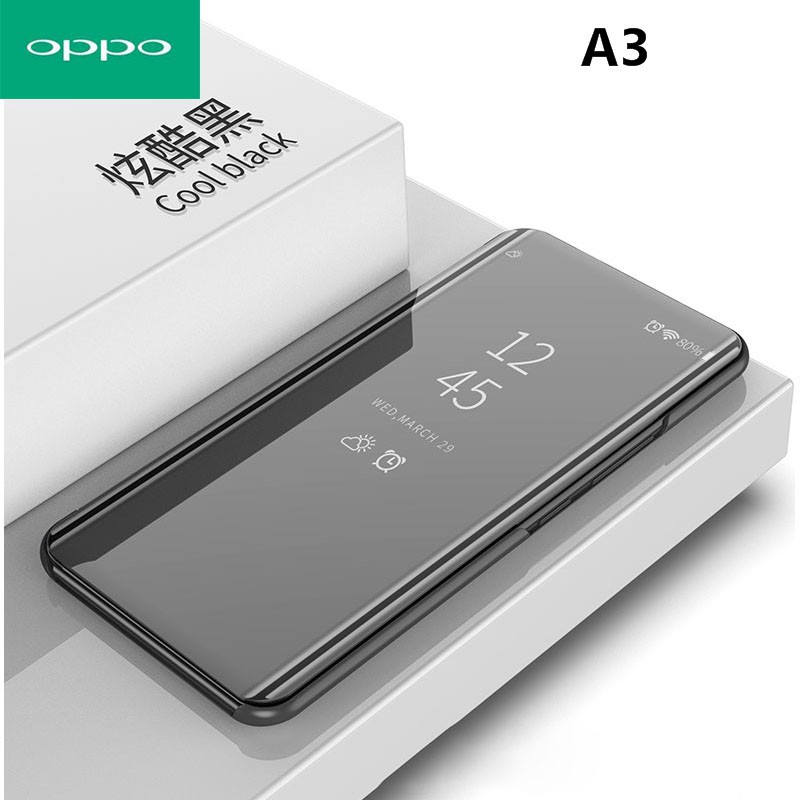 OPPO A1 A3 Case Flip Stand Mirror Case Clear View PU Leather Cover | Shopee Malaysia