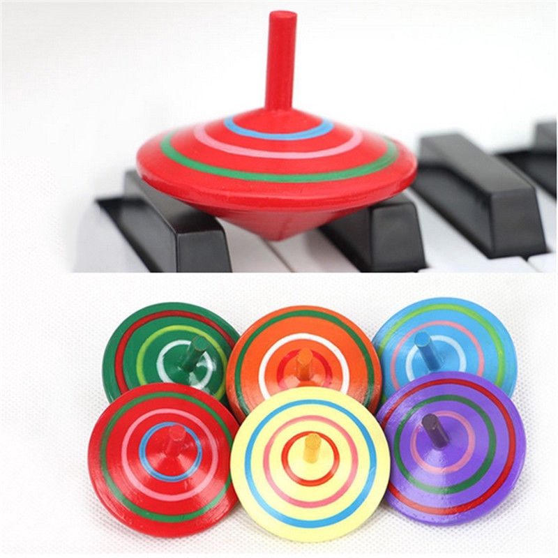 1x Wood Spinning Top Kids Colorful Wooden Gyro Toy Intelligence Classic Toy#/%