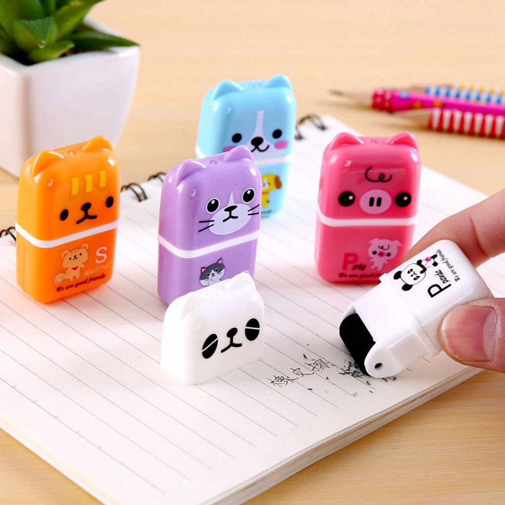 A Box Mini Rubber Erasers Rainbow Animal Cartoon Cute Erasers Teacher Rewards