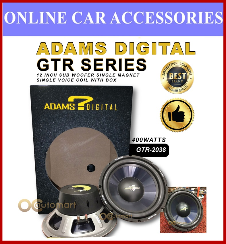"Adams Digital GTR-2038 12"" Hi-Power 400Watt Subwoofer With Box"