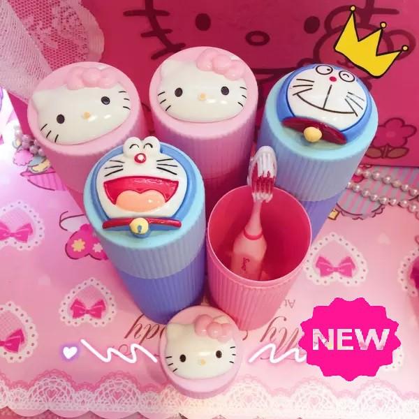 [ READY STOCK ]  Kitty Doraemon ToothBrush Holder Case Box Toothpaste Storage Box Travel Camping Jualan Murah Kid Baby