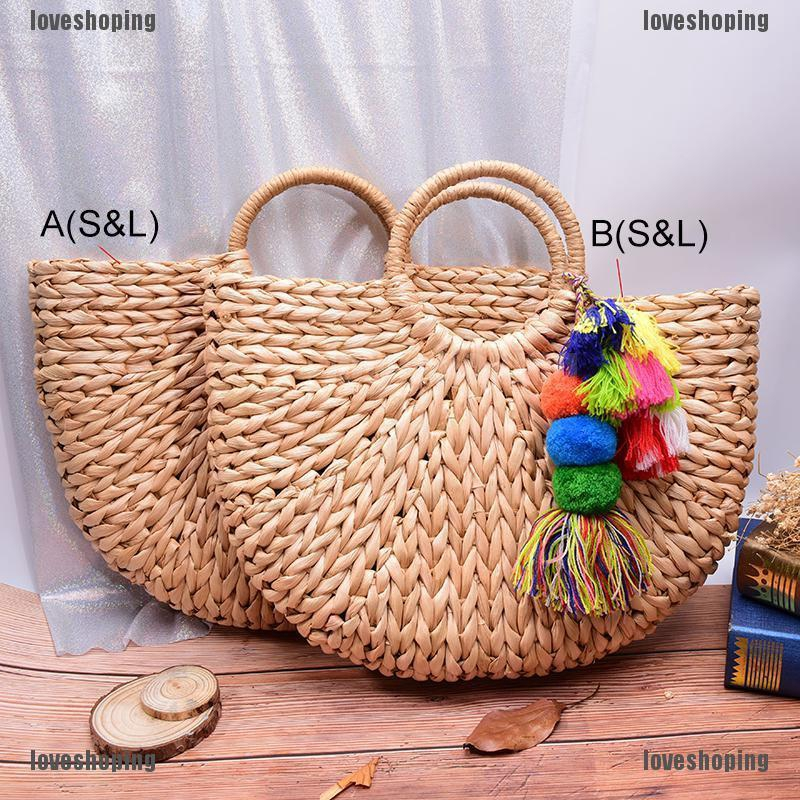 【LS】handmade beach bag round straw totes bag large bucket summer bags women handbags【MY】