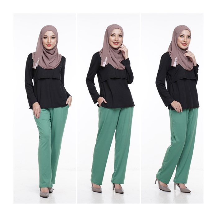 Seluar Kasual Hijau Ibu Mengandung by Qissara Maternity Friendly Casual Green Pants