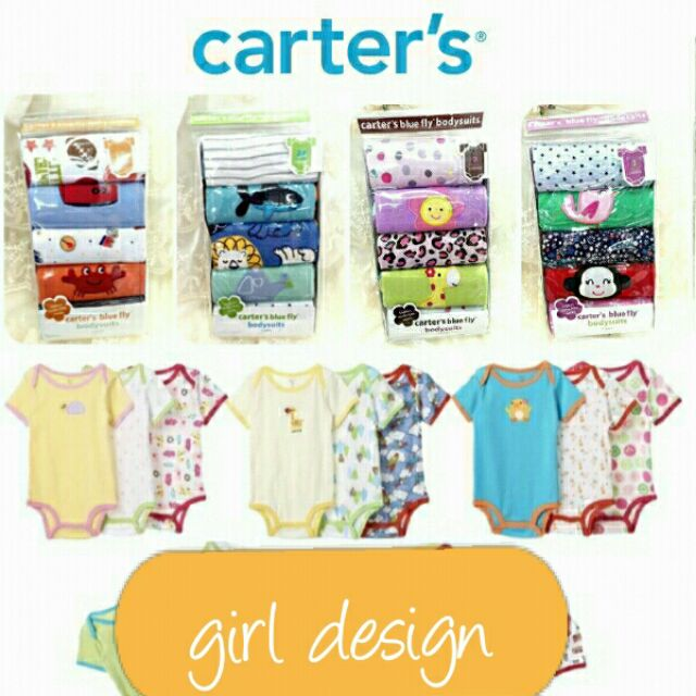b41300635 🌈Clearance🌸Carter s blue fly bodysuits (5 in 1 pack) girl design ...