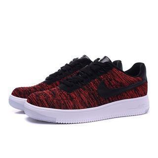 Nike Force 1 Women Men Flyknit Red Sneakers Dark Air Shoes sQxtdrCBh
