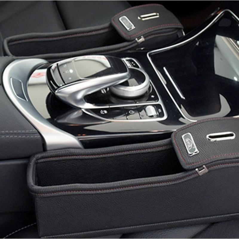 Beige Leather Car Seat Gap Organizer Console Storage Coin Cup Holder Pocket
