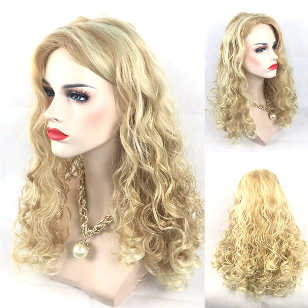 Women Fashion Blonde Long Curly Wavy Hair Extensions Wig for Halloween Costume | Shopee Malaysia