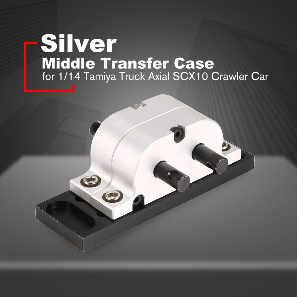 Silver Middle Transfer Case Bridge Transmission Box for 1/14 Axial SCX10 Car