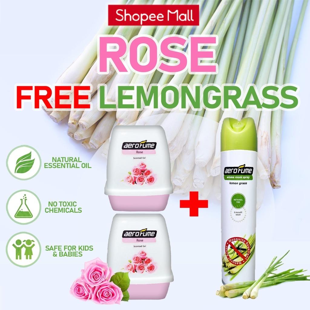 Lemon Grass Aroma Spray (1 Pcs) + Rose Scented Gel (2 Pcs) [Bundle] Fragrance