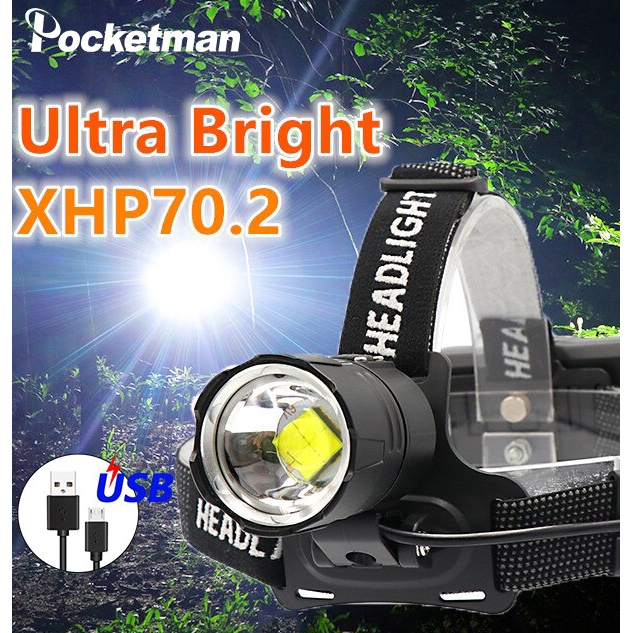 300000LM XHP 70 LED Headlamp Zoom USB Rechargeable 18650 Headlight Super Bright