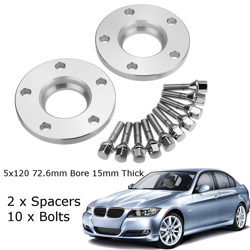 M12X1.5 BLACK BOLTS FITS BMW 3 4 2 X 8mm ALLOY WHEEL SPACERS SHIMS