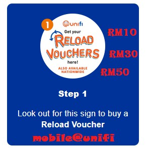 Unifi Mobile Prepaid Topup Reload Pin RM10 RM30 RM50