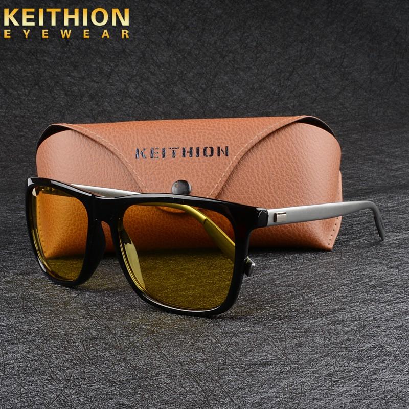 KEITHION Mens Sunglasses Polarized Square Frame Aluminium Legs Driving Eyewear