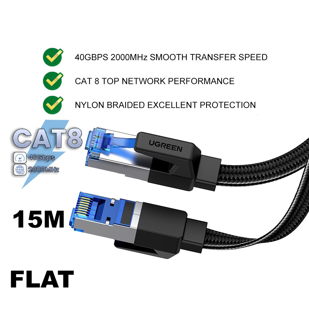 UGREEN Ethernet Cable CAT8 40Gbps Flat Networking Nylon Braided Internet LAN Cord Laptop Router RJ45 Network 10M 15M 20M