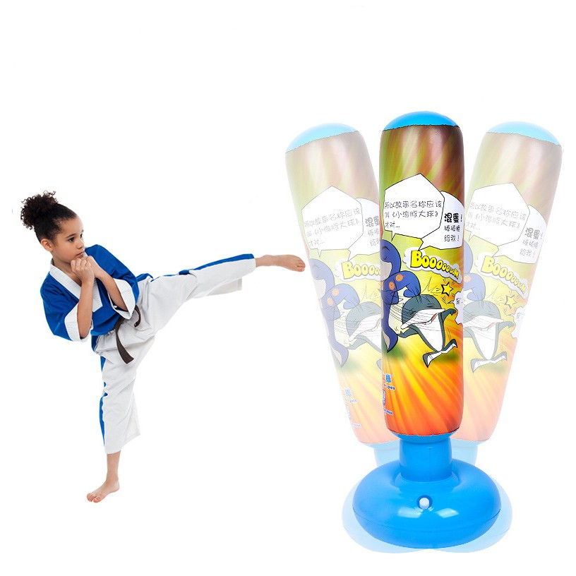 "64/"" Inflatable Punching Bag Boxing Toy Karate Taekwondo For Kids Adult Sports"