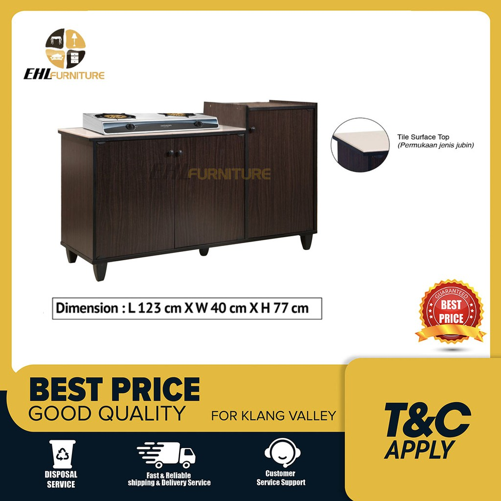 Fred Tile Top Kitchen Gas Cabinet Kabinet Dapur 4 Feet Iona 3 Door Kitchen Gas Cabinet With Tile Top D I Y Shopee Malaysia