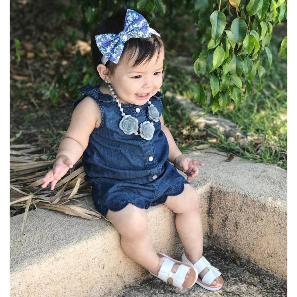 11566a46d61 Newborn Kids Toddler Baby Girl Clothing Denim Romper Sleeveless Cute  Jumpsuit